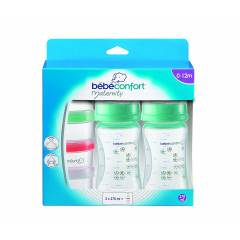 Lot de 2 Biberons Maternity 270 ML + Doseur de Lait Bébé Confort | Green